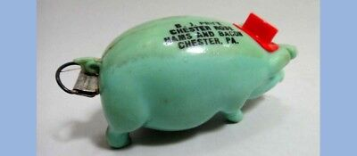 vintage CELLULOID PIG Tape Measure B.J. PRICE chester pa Rose Hams Bacon