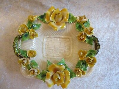 Vintage Italy Porcelain Capodimonte Handled Dish Trimmed in Roses Signed & #'d
