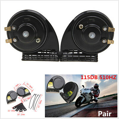 Pair Black Super Loud Compact Electric Blast Tone Horn 115DB For Motorcycle Car