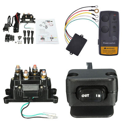Wireless Car ATV Winch Remote Control Relay Contactor+Rocker Thumb Switch Kits