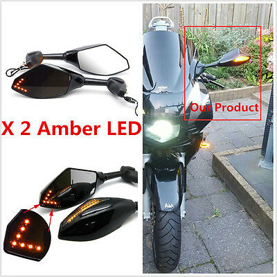 1 Pair Motorcycle Side Handlebar Mirrors With LED Turn Signals Lamp Amber Light