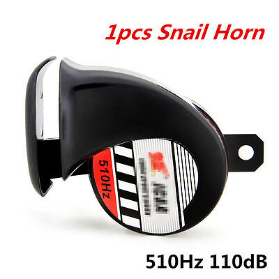 1pcs Motorcycle ATV 12V Loud 510Hz 110dB Loud Snail Air Horn Waterproof Black