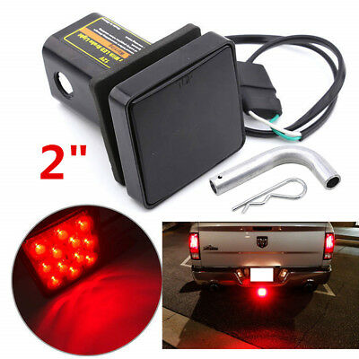 """Smoked Lens 12-LED Brake Light Trailer Hitch Cover Fit Towing 2"""" Size For Truck"""