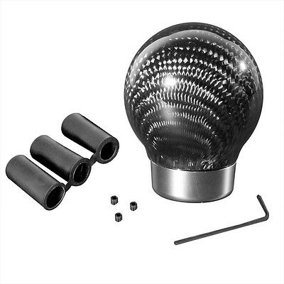 Carbon Fiber Ball STYLE THREADED ROUND CARBON FIBER SHIFT KNOB FOR MAZDA NISSAN