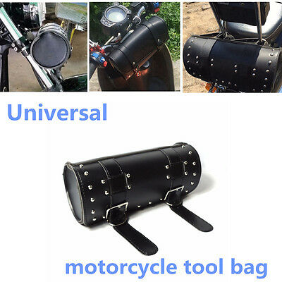 Universal Black PU Leather Motorcycle outdoor Tool Saddle Bag Roll Handlebar Bag