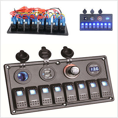 12/24V 8 Gang Switch Panel Breaker Voltmeter USB LED For Car Marine Boat Circuit