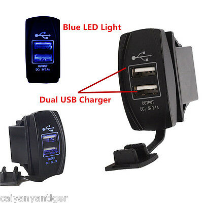 Blue LED12V 3.1A Motorcycle Car Boat Dual USB Power Charger Port Socket Plug