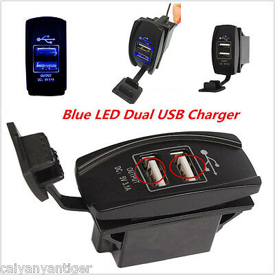 2 Port Charger Boat Car SUV Backlit Rocker Switch 12VDual Blue LED USB Charger