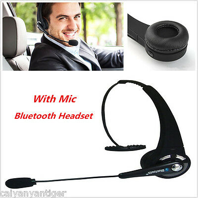 Wireless Bluetooth Headset Handsfree With Mic Noise Canceling Car Trucker Driver