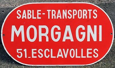 Old French red enamel street road sign plaque plate Morgagni masonry Esclavolles
