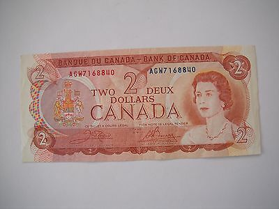 Ottawa 1974 CANADA Canadian $2 Two Dollar Bill Note Circulated Prefix AGW7168840