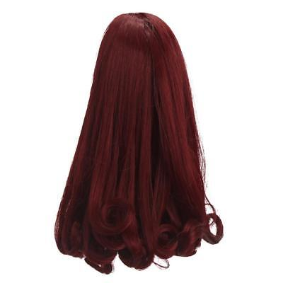24cm BJD Neat Bang Curly Hair Wig for 1/6 SD DIY Making Accessory Wine Red