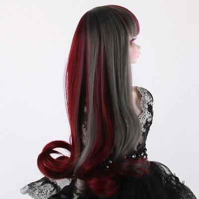 24cm BJD Neat Bang Curly Hair Wig for 1/4 SD DIY Making Accessory Wine Red