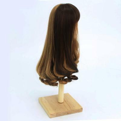30cm BJD Neat Bang Curly Hair Wig for 1/6 SD DIY Making Accessory Brown