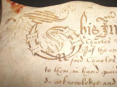 1653 Rare Commonwealth Ornate Vellum Indenture, Old Syndale, York, A-Grade