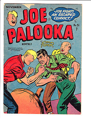 "Joe Palooka No 51 1956 - Austrailian-""Joe Fights Escaped Convict Cover ! """