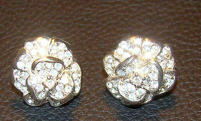 Vintage Clear Rhinestone and Silver Tone Metal Small Flower Earrings