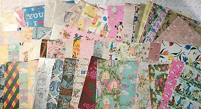 Lot Of Vintage Wrapping Paper Sheets~52 Different Styles~Variety of Occasions