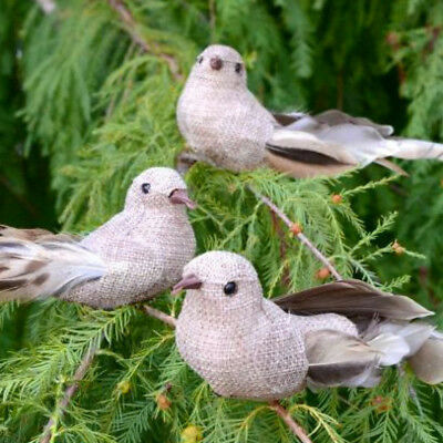 Set of 3 Burlap Clip-on Natural Feather Birds
