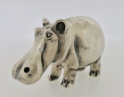 Vintage Tiffany & Co. Makers .925 Sterling Silver Hippopotamus Paperweight