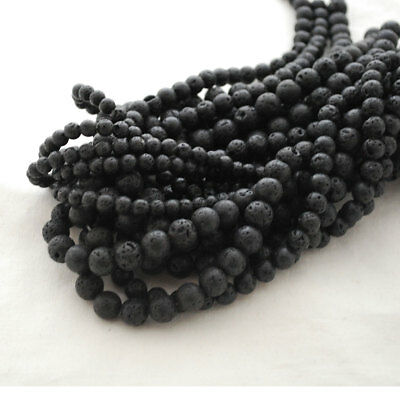 High Quality Natural Black Lava Stone Round Beads - 4mm 6mm 8mm 10mm