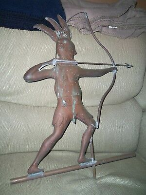 Antique Native American Indian Copper Weathervane Full Body 2 Sided Great Patina