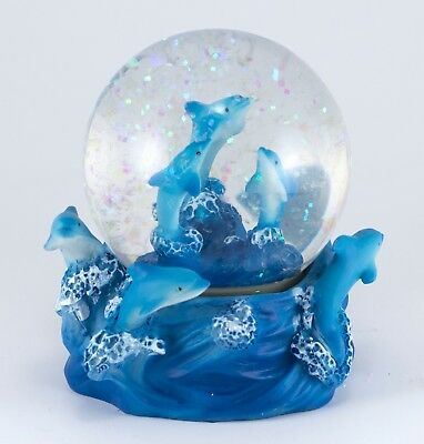 "Dolphins On Waves Snow Globe Dome Figurine 3.25"" High Resin New"
