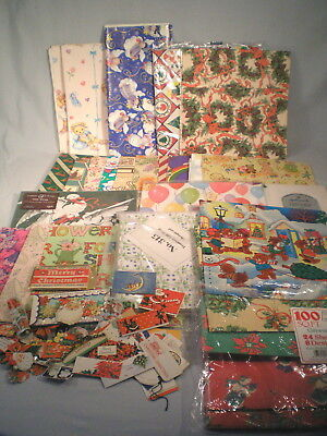 Huge Lot 75 Sheets Gift Wrapping Paper & Tags ~Vintage to Now ~Christmas +