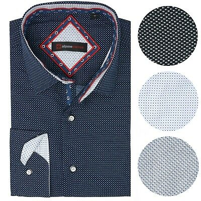 Alpine Swiss Wayne Mens Long Sleeve Button Down Dress Shirt Button Front Shirt