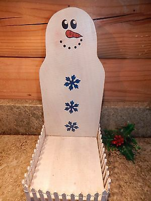 Vintage Handmade Wooden Snowman Candle Holder w/ White Picket Fence Cute!