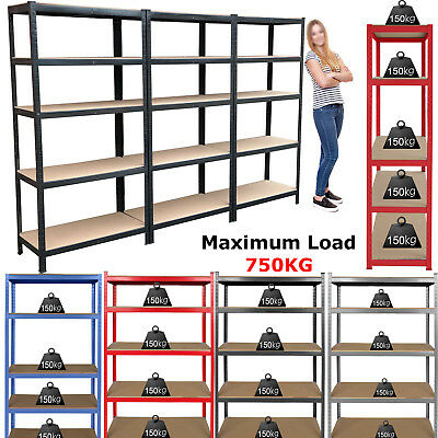 5 Tier Heavy Duty Steel Metal Boltless Industrial Garage Shelving Racking Unit