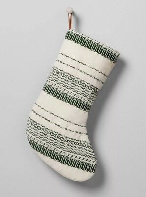 Magnolia Hand & Hearth Joanna Chip Gaines Stripe Stitch Stocking Green Ivory NEW