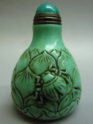 Chinese Insect Lotus Flower Shape Carved Green Peking Glass Snuff Bottle