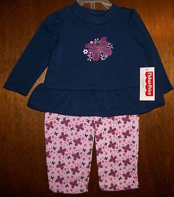 Girls Pant Set sz 6-9 mos FISHER-PRICE Navy Blue & Pink/Butterflies&Flowers NWT