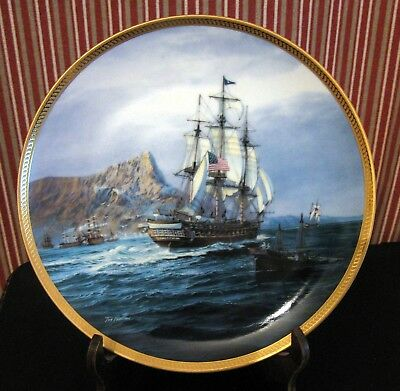 "1987 U.S.S. Constitution 9 1/4"" Collector Plate by Tom Freeman w/Documentation"