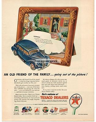1945 Texaco Old Friend Going Out Of Picture Frame Art Vintage Print Ad