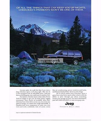 1999 Jeep Black CHEROKEE SPORT in the Rocky Moutains Rockies Vtg Print Ad
