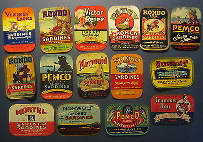 Lot of 15 Old Vintage - 1940's SARDINE Can LABELS - West Pembroke Maine