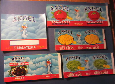 HUGE Wholesale Lot of 500 Old 1950's - ANGEL Brand - Can & Crate LABELS