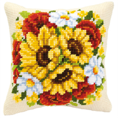 Sunflowers - Large Holed Printed Tapestry Canvas Cushion Kit Chunky Cross Stitch