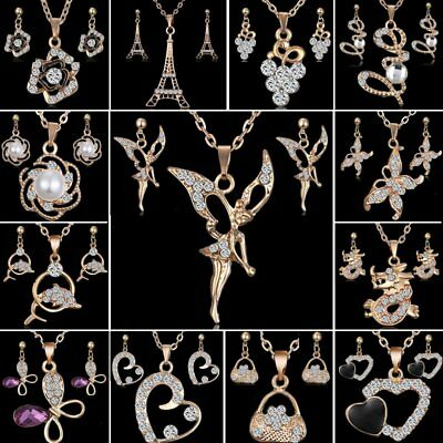 18K Yellow Gold Filled CZ Women's Love Earrings Pendant Necklace Set Jewelry New