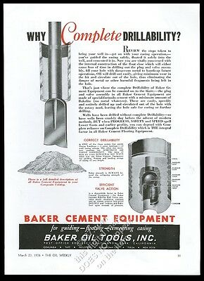 1936 Baker Oil Tools oil well drilling cement floating equipment trade print ad