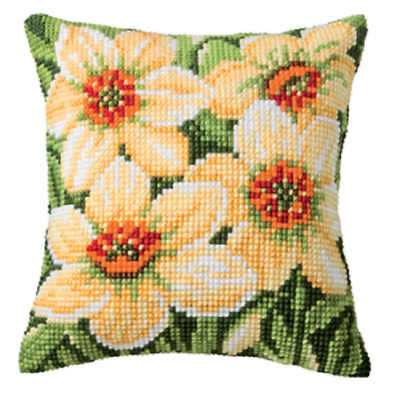 Daffodills - Large Holed Printed Tapestry Canvas Cushion Kit Chunky Cross Stitch