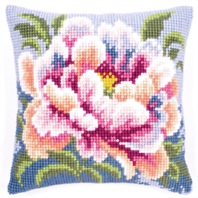 Peony  - Large Holed Printed Tapestry Canvas Cushion Kit Chunky Cross Stitch