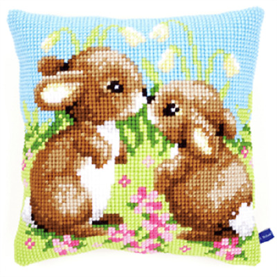 Rabbits  - Large Holed Printed Tapestry Canvas Cushion Kit Chunky Cross Stitch