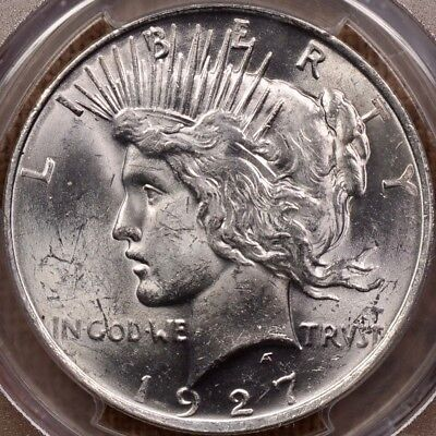 1927-D Better date Peace dollar, PCGS MS62, from orig roll   DavidKahnRareCoins
