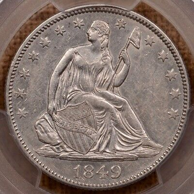1849 WB-14 Seated half dollar, PCGS AU55, prooflike VEDS   DavidKahnRareCoins