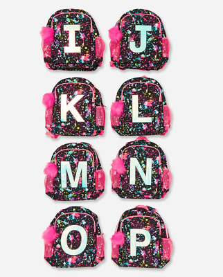 Justice Girl's Paint Splatter Initial 'O' 2 Sided Backpack Bookbag NWT