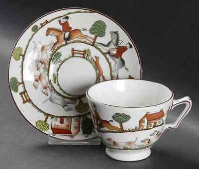 Crown Staffordshire HUNTING SCENE Cup & Saucer 95099