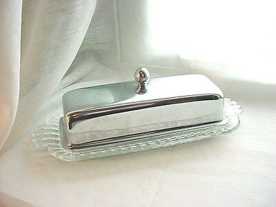Vtg Covered Butter Dish Glass and Metal Retro Detail Standard 1 Stick
